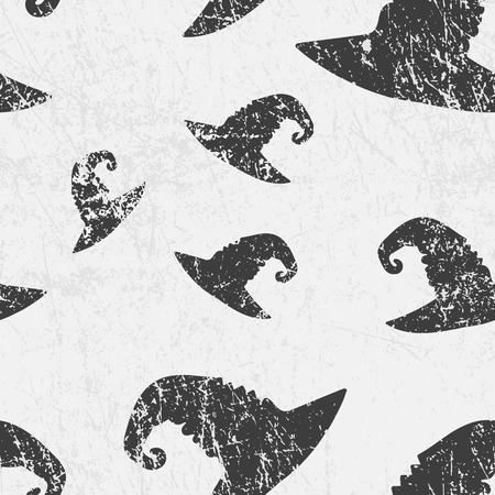 Vector seamless halloween pattern with witches magic hats. Grunge style, shabby street art imitation. Vintage old paper texture.