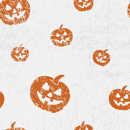 Vector seamless halloween pattern with pumkins (Jack lantern). Grunge style, shabby street art imitation. Vintage old paper texture.
