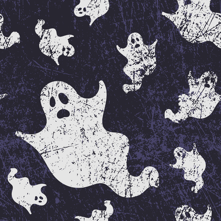 Vector seamless halloween pattern with ghosts. Grunge style, shabby street art imitation. Vintage old paper texture.