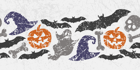 Vector seamless Halloween border with scary symbols.