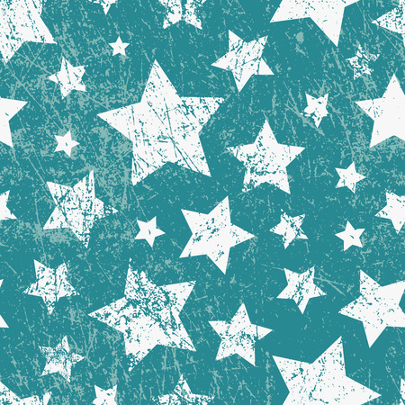 Vector seamless childish pattern with stars. Grunge style, shabby street art imitation. Vintage old paper texture. Illustration