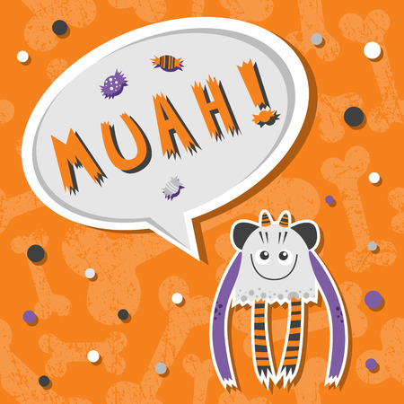 Vector background with shabby bones seamless pattern. Scary, but cute and lovely halloween monster hungry for sweets with toothy smile. Speech bubble with slang MUAH! Speech bubble with words. Good for invitations, banners and other holiday stuff.