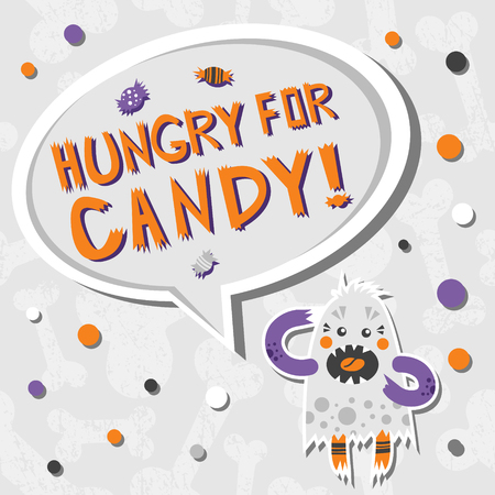 Vector background with shabby bones seamless pattern. Scary, but cute halloween monster hungry for sweets with toothy smile. Speech bubble with words. Good for invitations, banners and other holiday stuff.