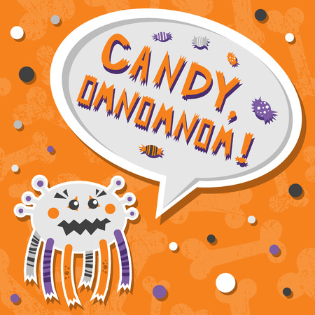 Vector background with shabby bones seamless pattern. Scary, but cute halloween monster hungry for sweets with toothy smile. Speech bubble with slang words CANDY, OMNOMNOM!Good for invitations, banners and other holiday stuff. Illustration