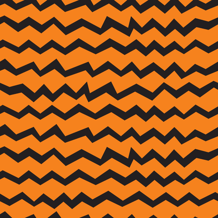 Vector seamless Halloween chevron pattern. Black and orange zigzag lines. Good for Halloween cards, polygraphy, stuff. Stock Vector - 85067230