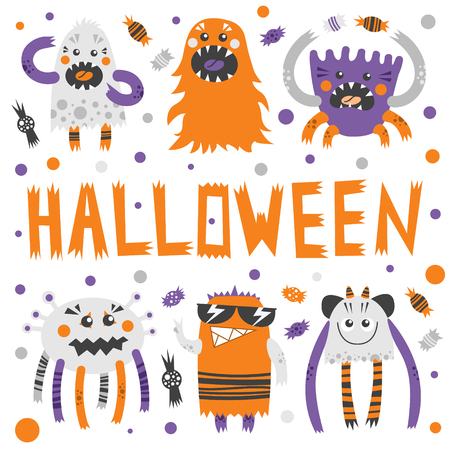 Vector set of scary, but cute halloween monsters with toothy smiles. Funny colorful characters with different emotions. Traditional halloween sweets and candies. Good for invitations, banners and other holiday stuff.