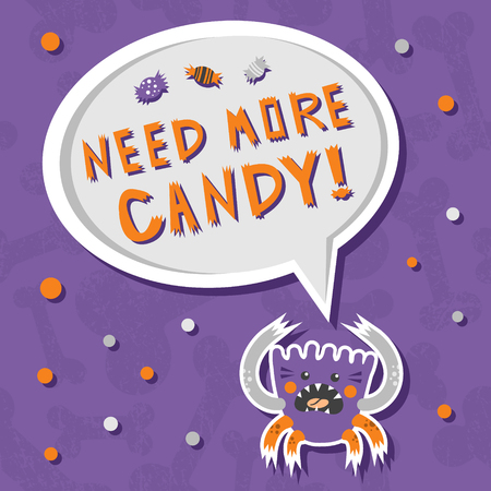 Vector background with shabby bones seamless pattern. Scary, but cute halloween monster hungry for sweets with toothy smile. Good for invitations, banners and other holiday stuff.
