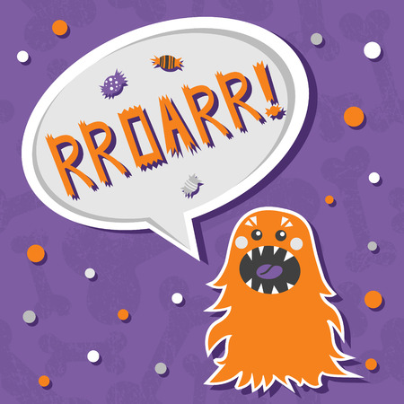 Vector background with shabby bones seamless pattern. Scary, but cute fluffy halloween monster hungry for sweets with toothy smile. Speech bubble with slang RROARR! Speech bubble with words. Good for invitations, banners and other holiday stuff.