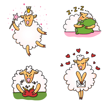 Set of funny sheep with different emotions. Stock Vector - 86376887