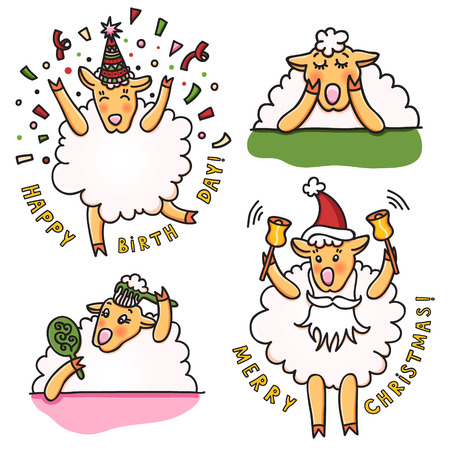 Set of funny sheep with different emotions.
