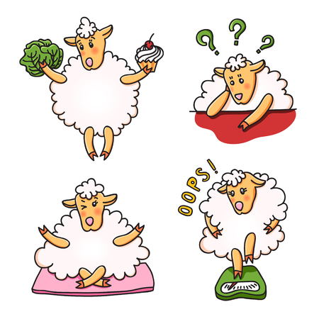 Set of funny sheep with different emotions. Stock Vector - 86376889