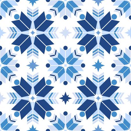 Geometric snowflakes pattern. Illustration