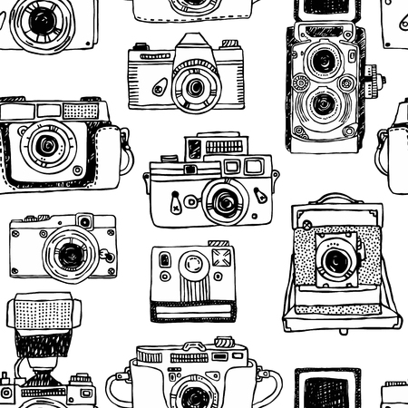 Vector seamless pattern with old fashioned cameras. Hand drawn set of vintage photo camera. Stock Vector - 90337628