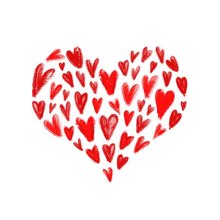 Big Mosaic Heart Made Of Hand Drawn Red Hearts Symbol Of Love