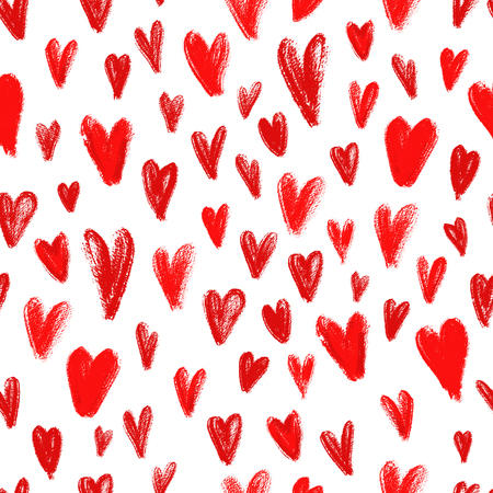 Seamless pattern with hand drawn red hearts, symbol of love. Romantic background for Valentine Day.