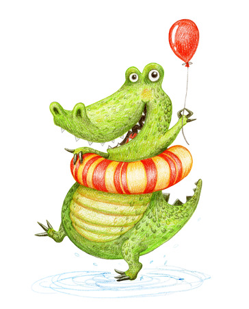 Funny crocodile with air balloon and rubber ring. Hand drawn illustration on white background, made with color pencils.
