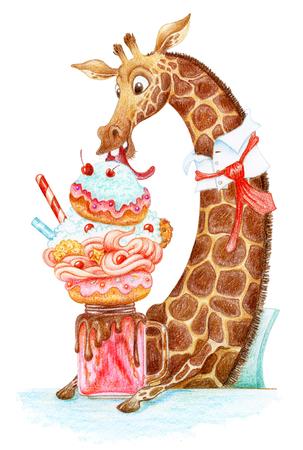 Giraffe eating monster shake cocktail. Watercolor hand drawn illustration. Stock Photo