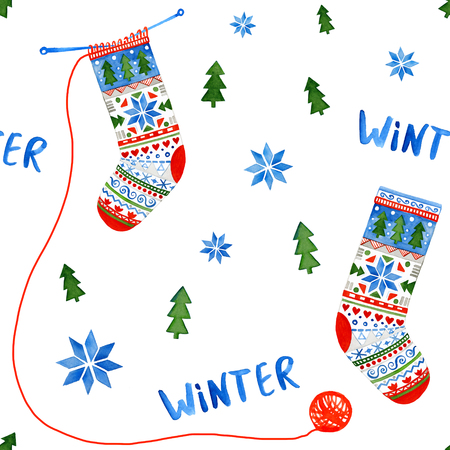 Hand drawn watercolor seamless pattern. Knitted socks with nordic scandinavian pattern. Winter background with snowflakes and fir trees. No tracing. Stock Photo