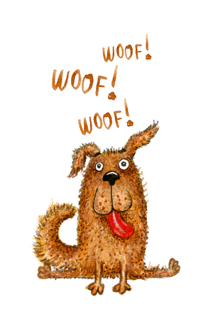 Funny fluffy dog with red tongue says Woof! Smiling pet, symbol of 2018 New Year. Watercolor hand drawn illustration.