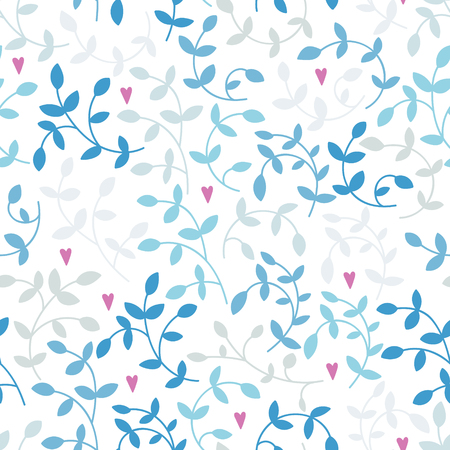Vector seamless pattern of blue branches and pink hearts.