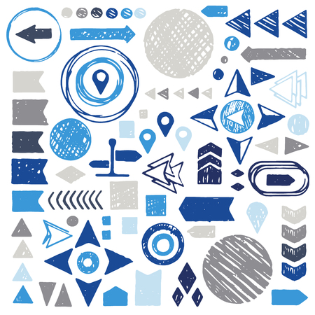 Vector set of hand drawn sketch geometric elements - arrows, circles, triangles.