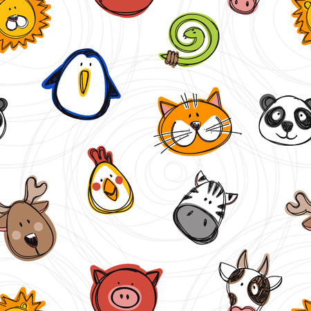Vector seamless pattern of hand drawn funny doodle animals, sketch style. Good for childrens stuff, invitations, stationery. Illustration