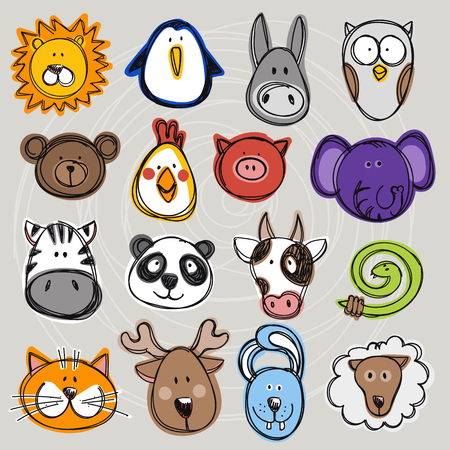 Vector set of hand drawn funny doodle animals, sketch style. Good for childrens stuff, invitations, stationery.