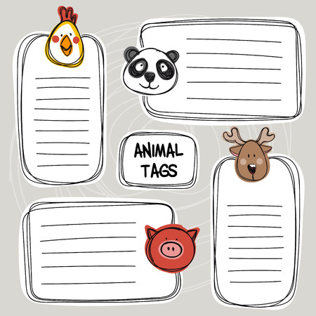 Vector set of hand drawn funny doodle tags with animals, sketch style. Good for childrens stuff, invitations, stationery.