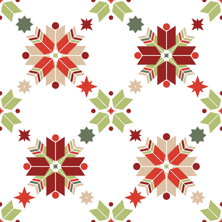 Vector seamless pattern of geometric snowflakes. Nordic pattern in Christmas traditional colors. Stock Vector - 132307125
