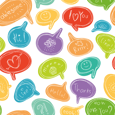 Vector seamless pattern with colorful speech bubbles. Different phrases, paintings and symbols.