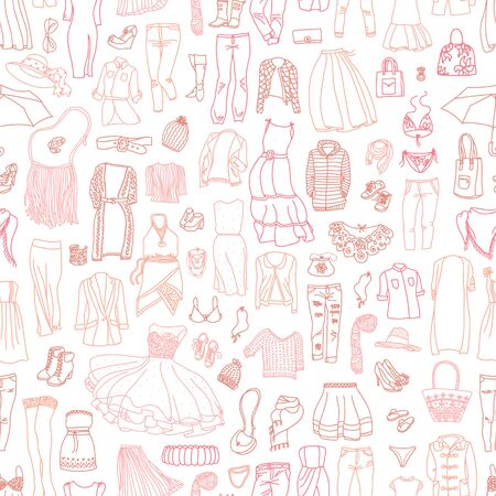 Vector seamless pattern of different womens clothes and accessories, from underwear to outerwear. Fashion doodle collection.