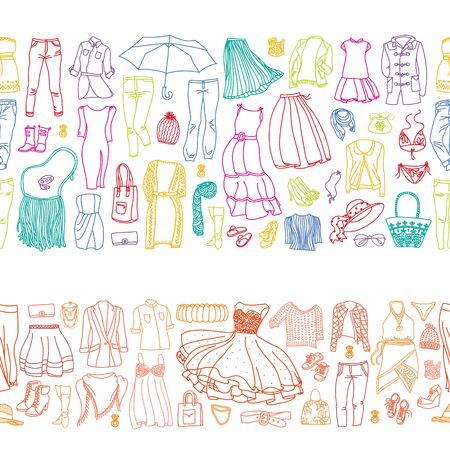 Two seamless borders of vector sets of different women clothes and accessories, from underwear to outerwear. Fashion doodle collection.