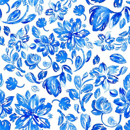 Hand drawn watercolor background with blue leaves and flowers. Seamless floral pattern. Stock Photo - 132306968