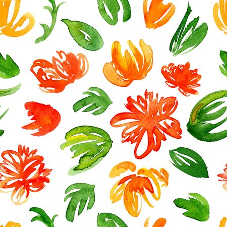 Hand drawn watercolor background with colorful red and yellow flowers and green leaves. Seamless floral pattern.