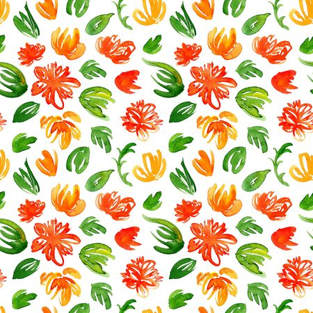 Hand drawn watercolor background with colorful red and yellow flowers and green leaves. Seamless floral pattern. Stock Photo - 132306971
