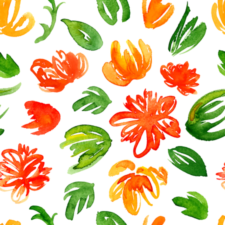 Vector hand drawn watercolor background with colorful red and yellow flowers and green leaves. Seamless floral pattern.