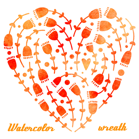 Vector watercolor hand drawn wreath with flowers and heart, different shades of orange and pink.
