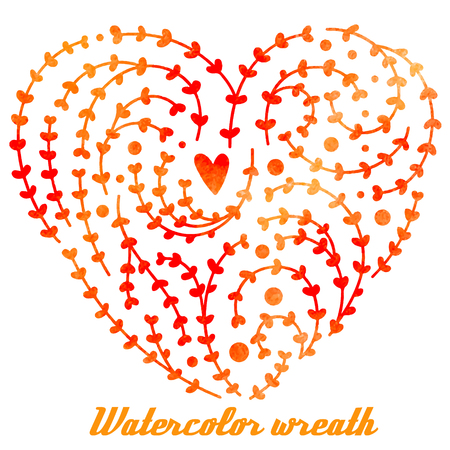 Vector watercolor hand drawn wreath with branches, leaves and heart, different shades of orange and pink.