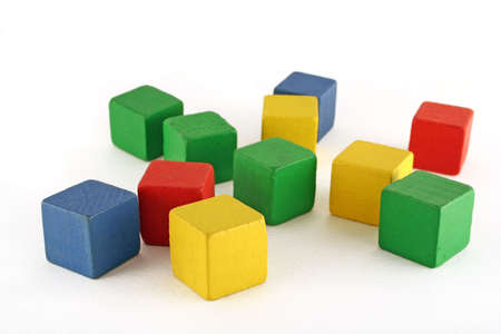 colorful wooden childen's building blocks scattered loose 免版税图像