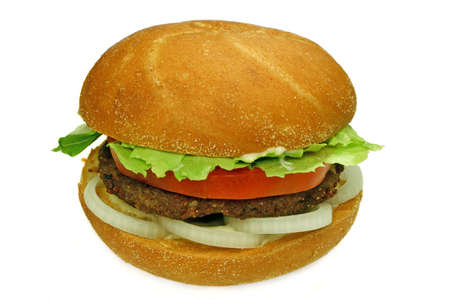 hamburgers: homestyle beef burger with onion rings, tomato and lettuce, ready to eat