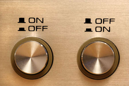 disagreeing control buttons showing opposing instructions Stock Photo - 719564