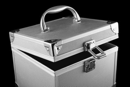 valuables: metal safe box for holding your valuables with lock open Stock Photo