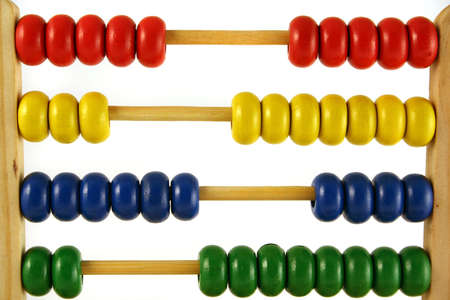 subtract: childrens abacus - calculator with all beads at random sides Stock Photo