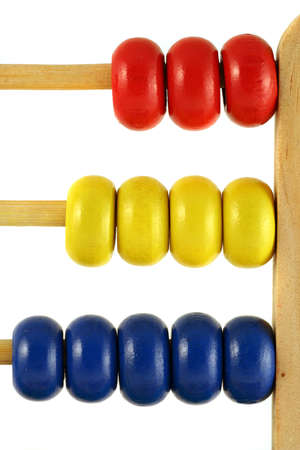 computations: childrens abacus - calculator with all beads at one side, vertical close up Stock Photo