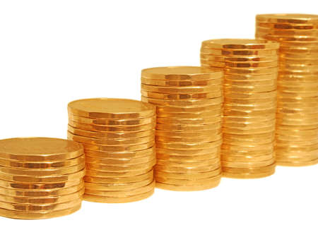 golden steps leading up, made of stacks of dollar coins in increasing height  Stock Photo