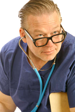 close up portrait of a doctor checking someone with a stethoscope Stock Photo
