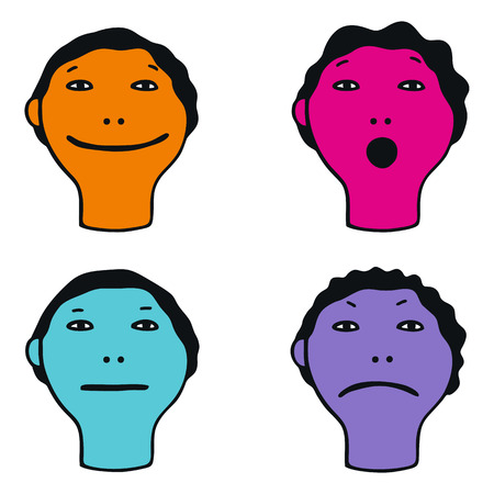 Illustration of cute faces showing different emotions on white