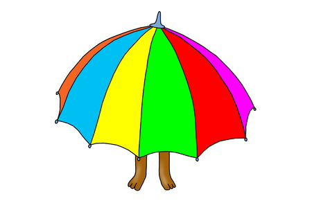 brolly: Bear under umbrella.