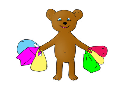 after shopping: Teddy bear after shopping. Stock Photo