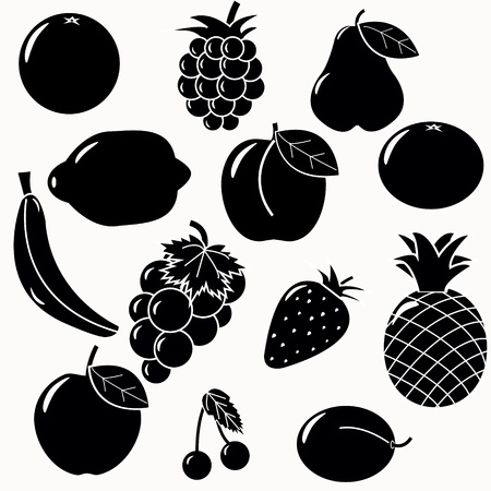 braam: fruits silhouettes set. 13 fruits vectors Stock Illustratie